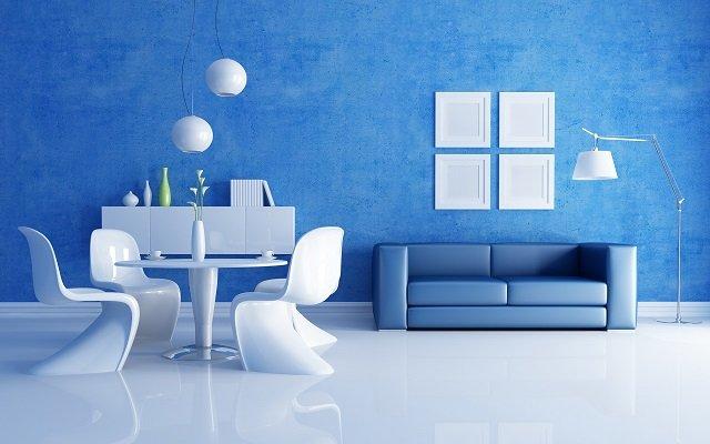 синие обои для стен
