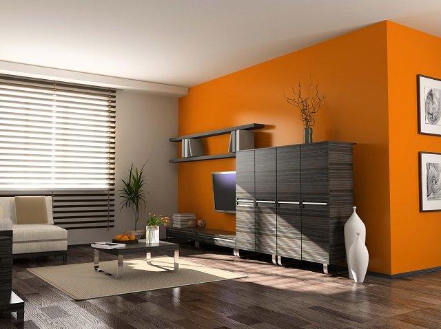 выбираем оранжевые обои в интерьере