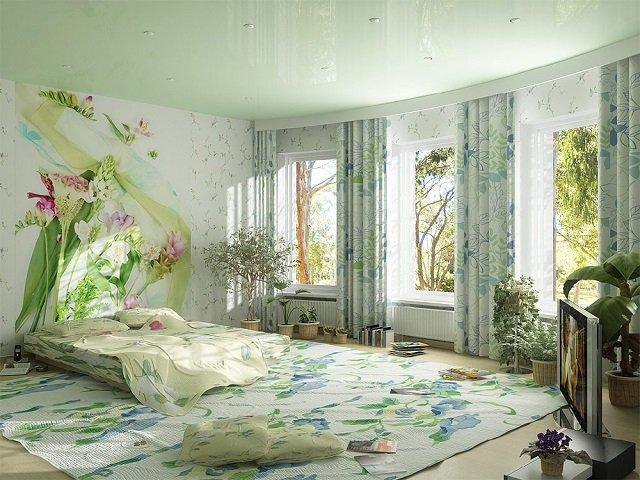 цветочные обои интерьера квартиры