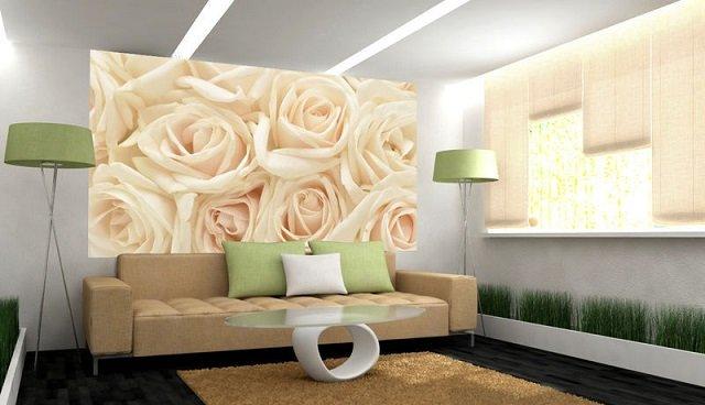 рекомендации по использованию фотообоев с белыми розами в интерьере