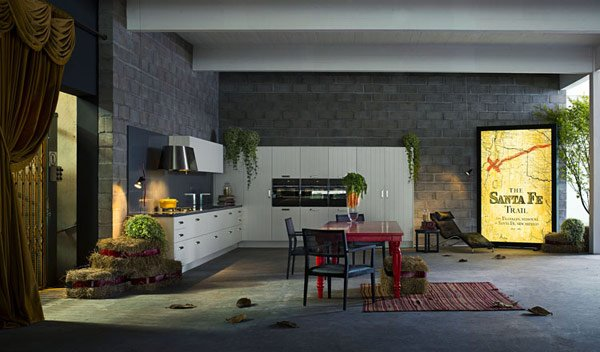 современный дизайн кухни совмещенной с гостиной