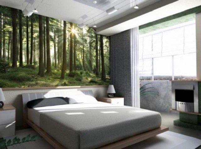 спальня с природными фотообоями