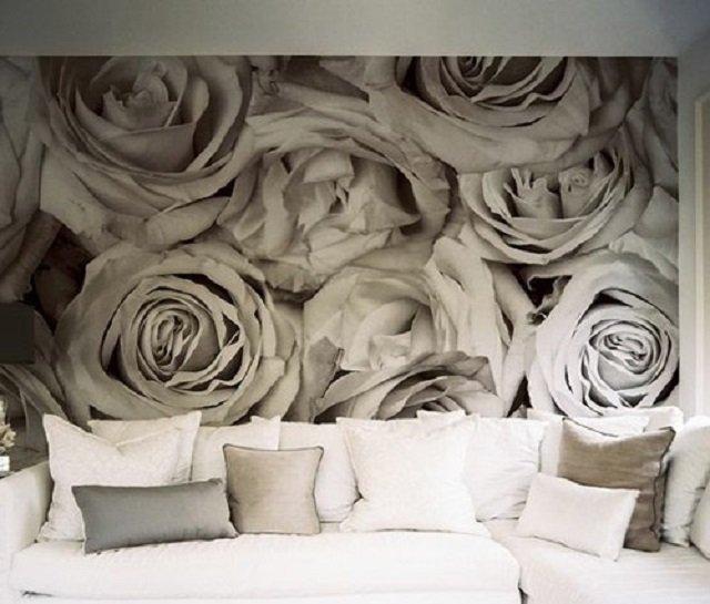 украшение стен в квартире фотообоями с белыми розами