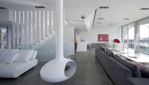дизайн гостиной в бело-черном цвете
