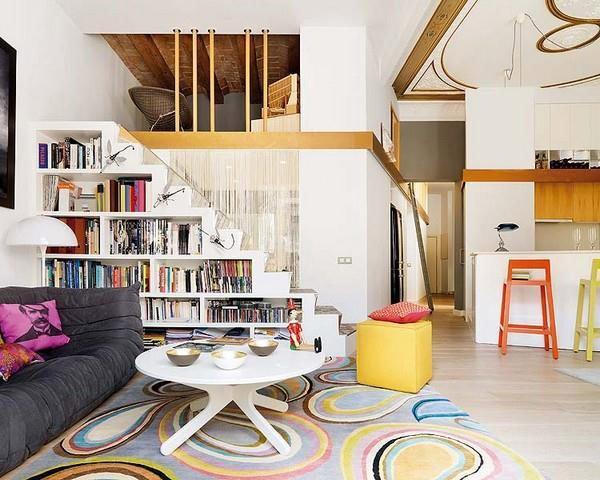 дизайн зала с лестницей фото