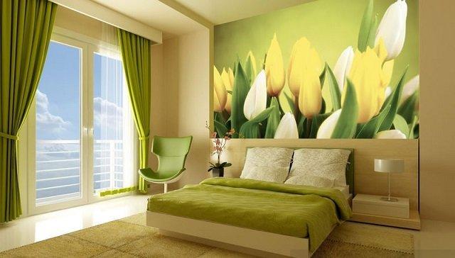 фотообои тюльпаны в интерьере комнат