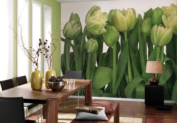 фотообои тюльпаны в интерьере вашей квартиры