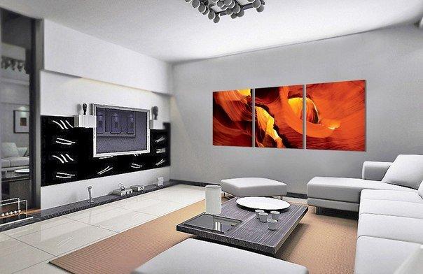 составная картина в интерьере гостиной