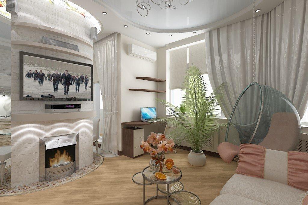 дизайн комнаты с двумя окнами фото