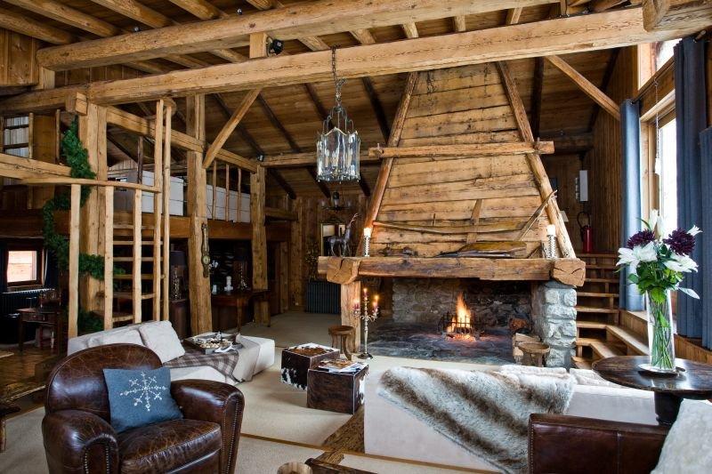 гостиная в стиле шале фото