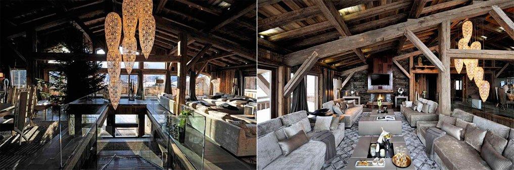 интерьер дома в стиле шале фото