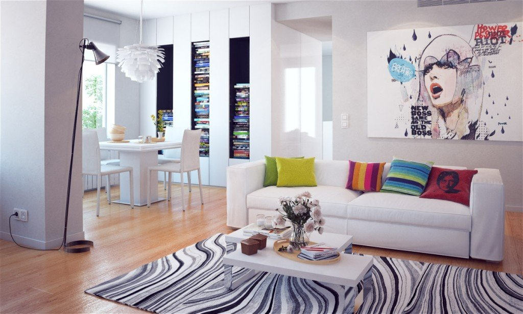 белый интерьер гостиной в квартире