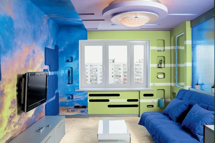 дизайн покраски стен в гостиной фото