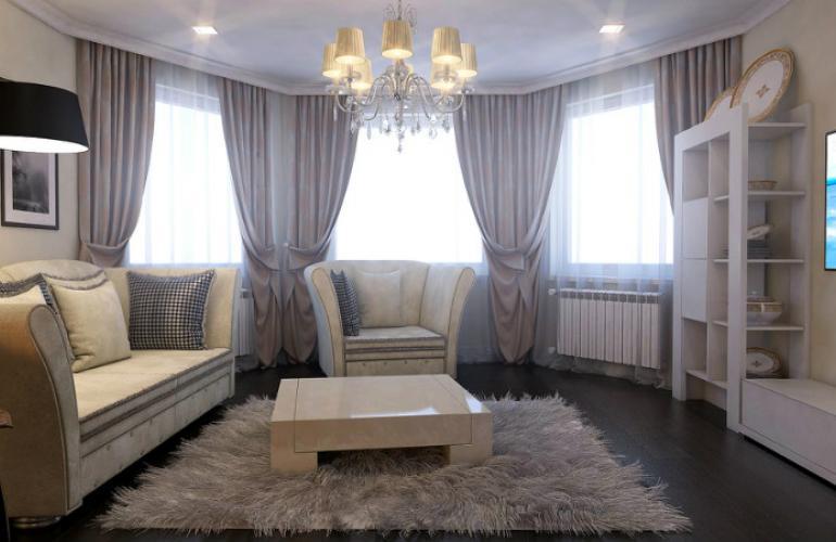 дизайн штор в комнате с эркером фото