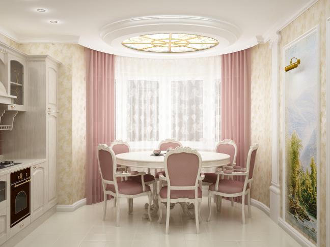 дизайн штор в комнате с эркером