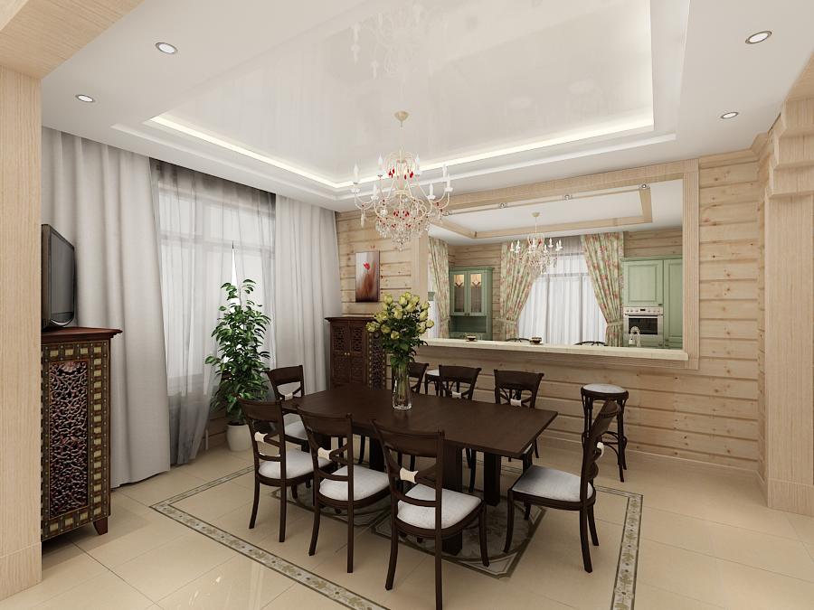интерьер кухни в доме из клееного бруса