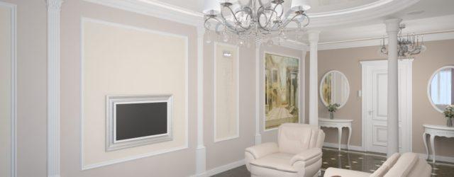 колонны в интерьере гостиной