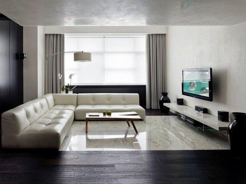 современный минимализм в интерьере гостиной фото