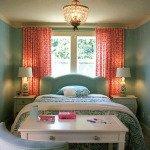 оранжевые шторы в спальню