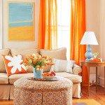 оранжевые шторы в гостиную