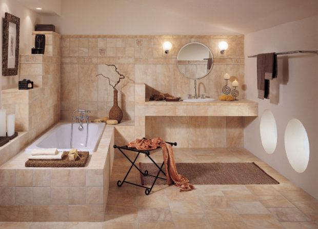 Оформление ванной 2017 в спокойных тонах