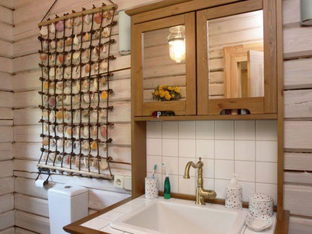 Идея декора для ванной из ракушек
