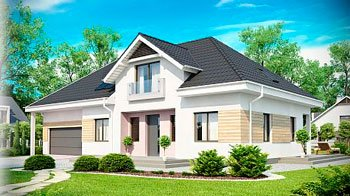 Проект загородного дома с гаражом