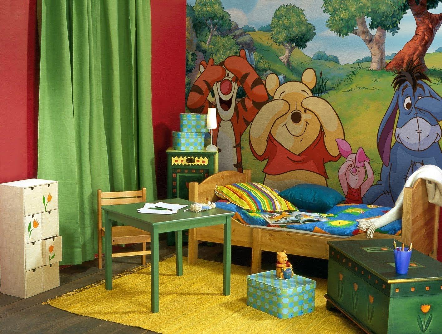 гармоничный дизайн детской комнаты с фотообоями