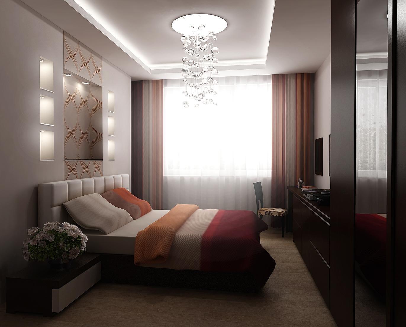 спальня в прямоугольной комнате дизайн фото актуально