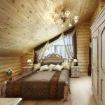 Просторная спальня в стиле кантри